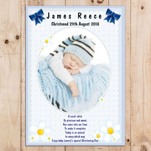 Personalised Boys Christening Baptism Celebration PHOTO Poster Banner N15